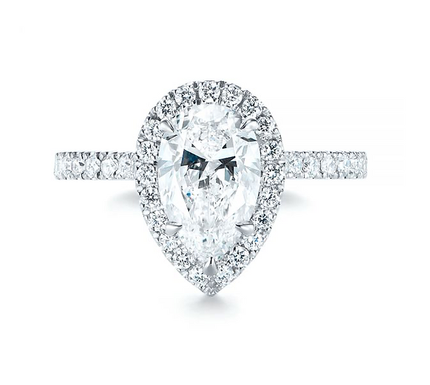 Luna Pear Shape Halo Engagement  Ring