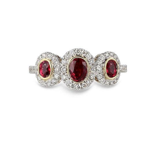 Ruby Diamond Bezel Three Stone Ring