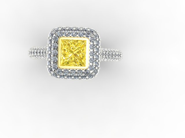 Pave Yellow Diamond Engagement Ring