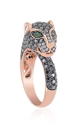 Black Diamond Panther Ring