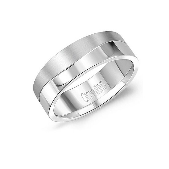 Mens 8mm wave wedding ring