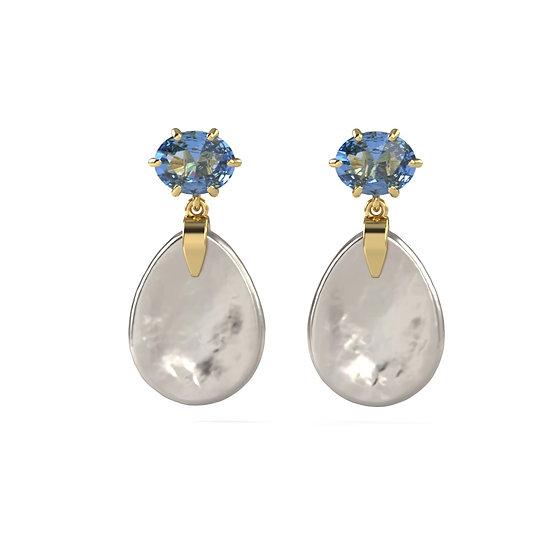 Blue Topaz Pearl Earrings
