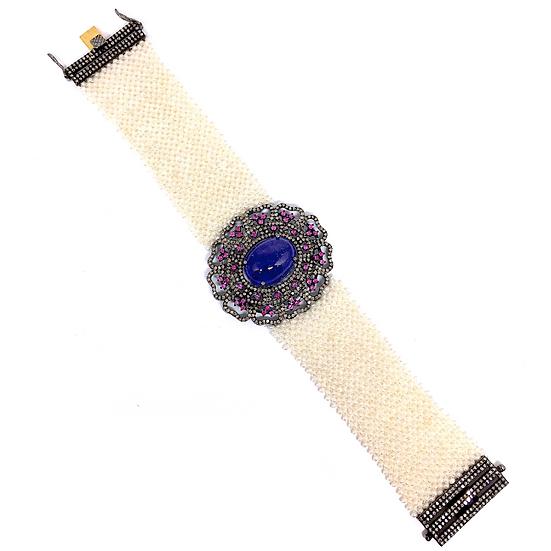 Tanzanite pearl diamond bracelet