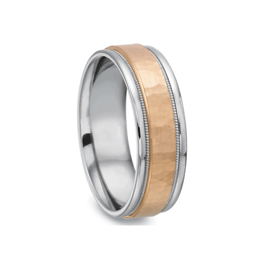 Men's 7mm hammered wedding band