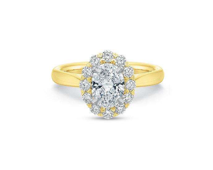 Oval Blossom Diamond Engagement Ring Setting