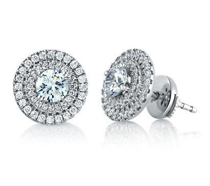 Halo Diamond Stud Earrings 2.00 cttw