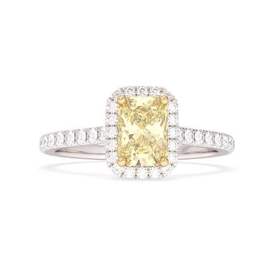 Cushion yellow diamond halo engagement ring