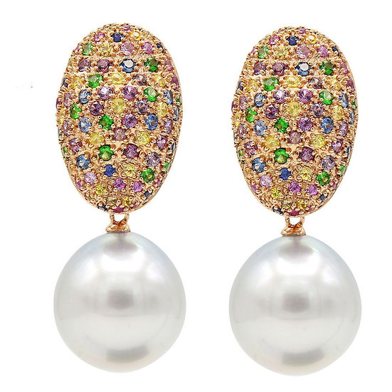 Gemstone Pearl Earrings