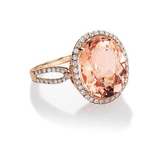 Oval Shape Morganite Diamond Ring