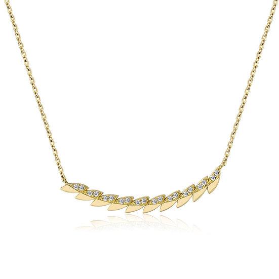 Feather Diamond Bar Necklace