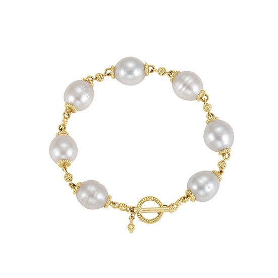 Pearl Gold Toggle Bracelet