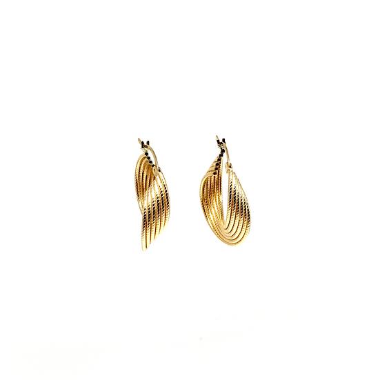 Gold hoop swirl earrings