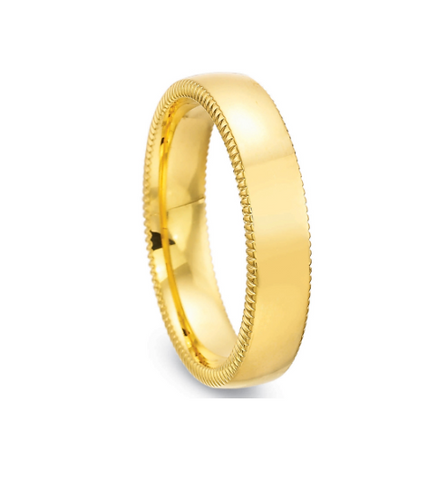 Men's 5mm low dome coin edge wedding band