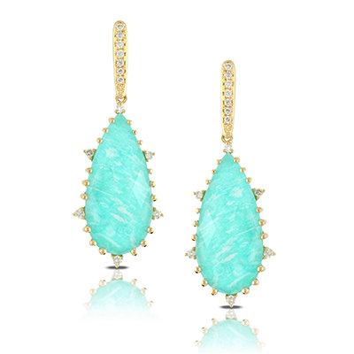 Amazonite Diamond Earrings