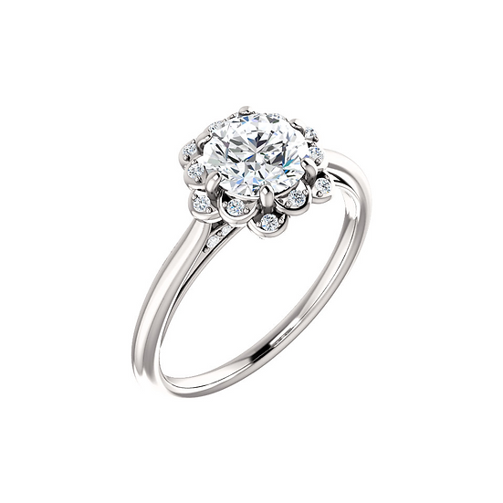 Floral Inspired Diamond Engagement Ring Setting