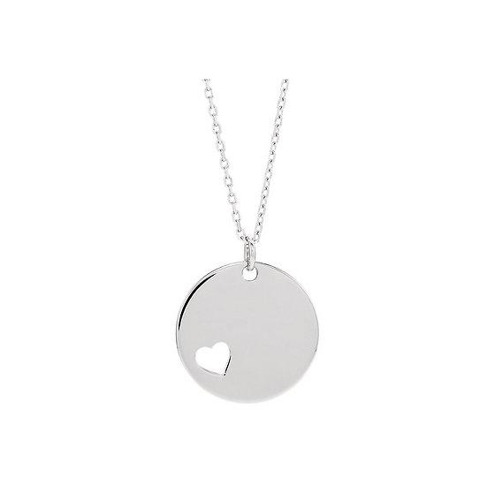 Engravable Disc Heart Necklace
