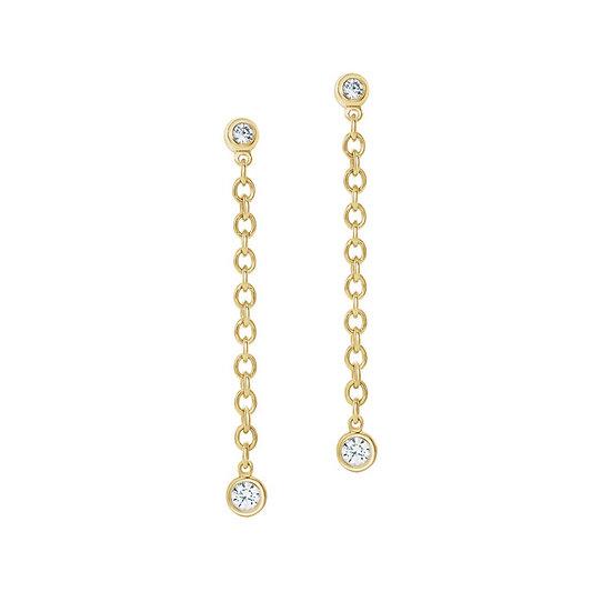 Diamond link dangle earrings