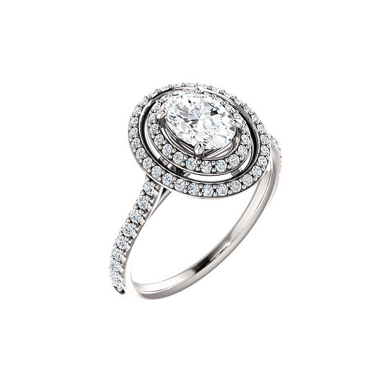 Double Halo Oval Engagement Ring Setting