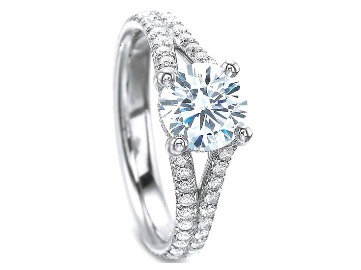 Split Band Diamond Gallery Ring