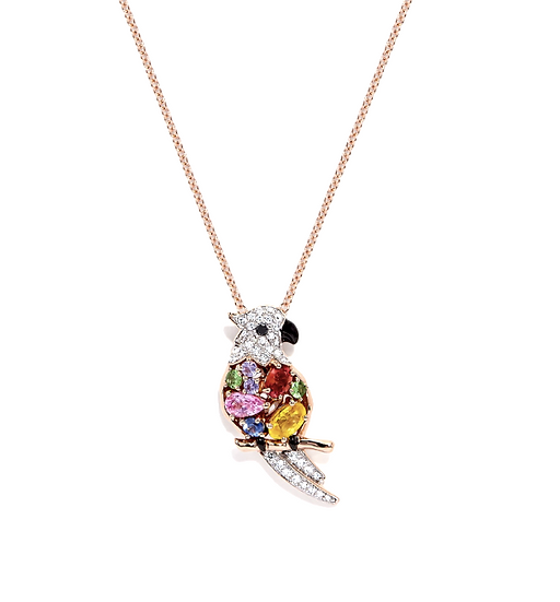Gemstone Diamond Parrot Pendant