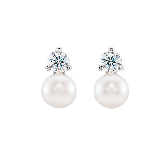 Freshwater pearl diamond accent earrings