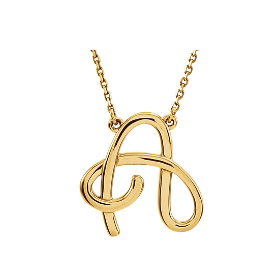 Gold Script Initial Necklace