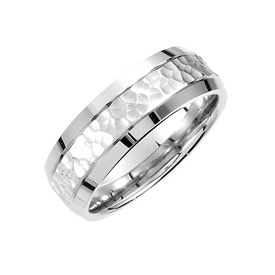 Hammer finish wedding ring
