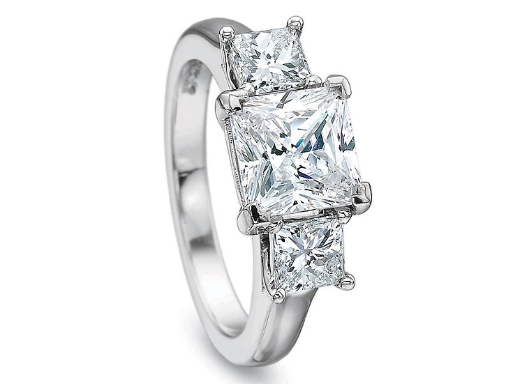 Princess Three Stone Engagement Ring Setting
