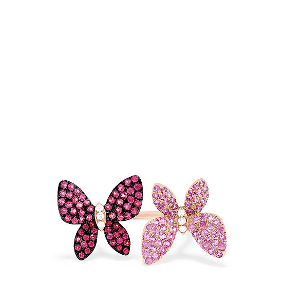 Duo butterfly rose gold ring
