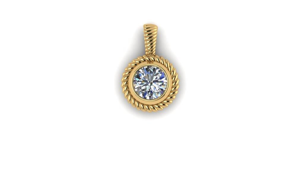 Twist gold diamond pendant