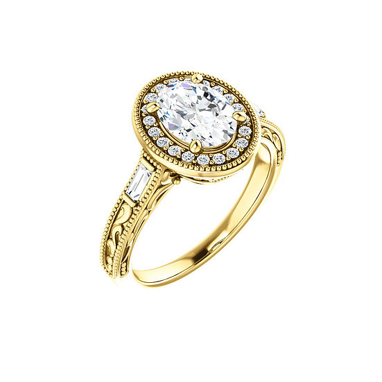 Oval Diamond Halo Engagement Ring Vintage Inspired