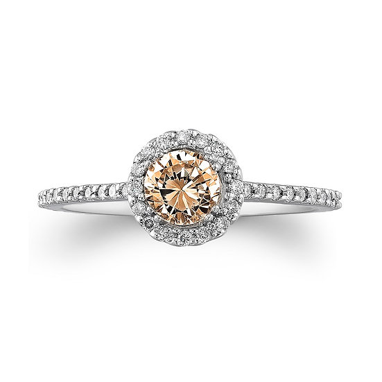 Brown Diamond Halo Engagement Ring