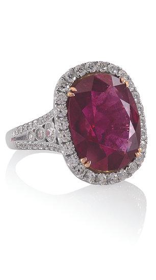 Rubellite Diamond Ring