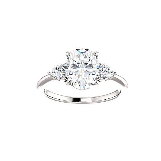 Oval Three Stone Engagement Ring Setting
