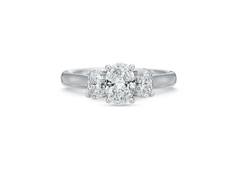 Three Stone Oval Diamond Engagement Ring