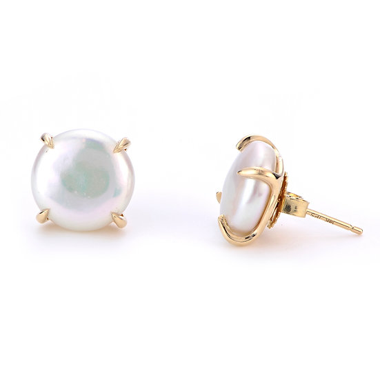 Pearl Coin Earring Studs