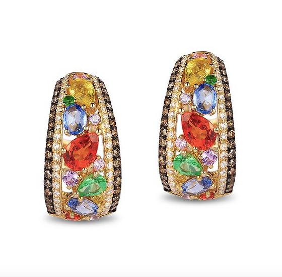 Multi Gemstone Diamond Earrings