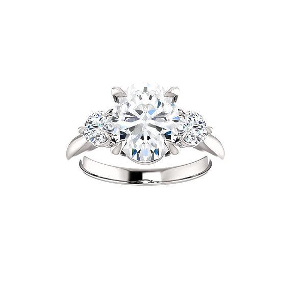 Oval Diamond Three Stone Engagement Ring Setting