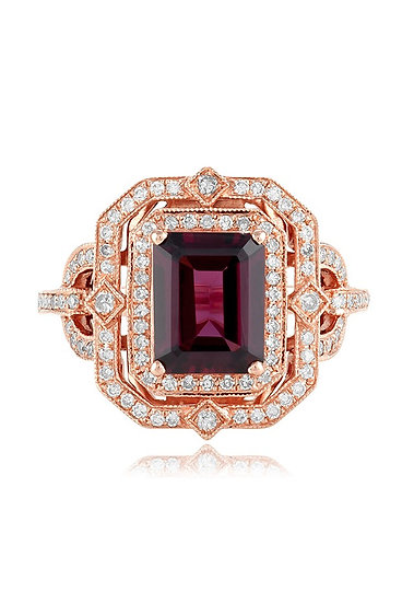 Rhodolite Garnet Rose Gold Ring