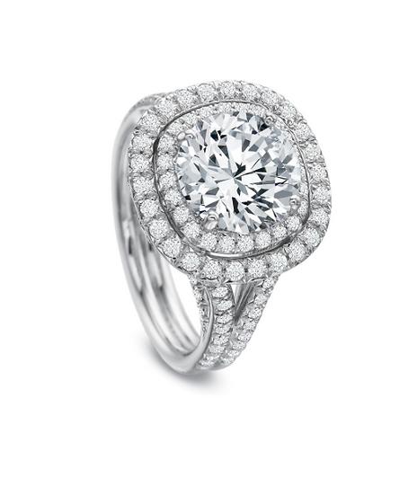 Diamond double cushion halo engagement ring