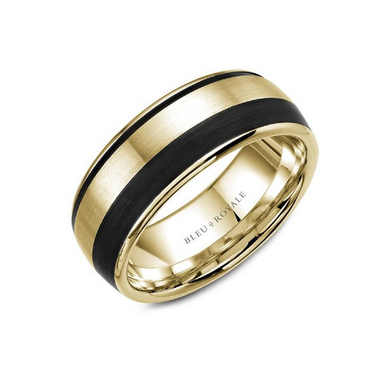 Mens 8.5mm gold & black carbon band