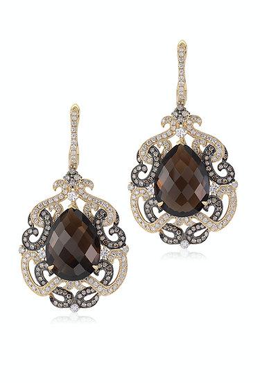 Smokey Topaz Diamond Earrings