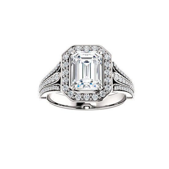 Oval halo ring setting with triple band