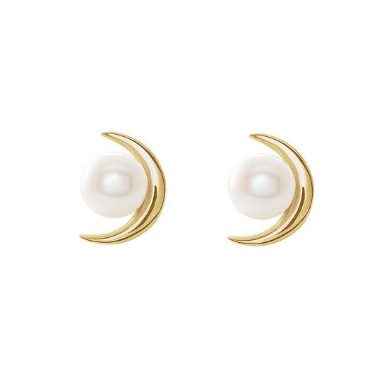 Crescent moon pearl earrings