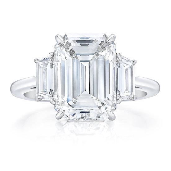 Desiree Three Stone Emerald Engagement Ring