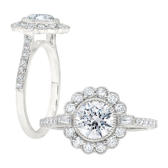 Grand Estate Halo Engagement Ring