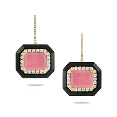 Pink opal diamond earrings