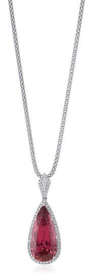 Pink Tourmaline Diamond Necklace