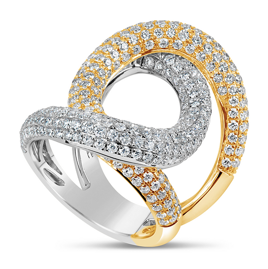 Diamond Pave Cross Over Ring