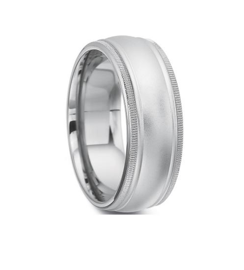 8mm men's domed wedding band
